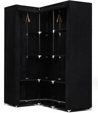 Bedroom Corner Wardrobe Cupboard Clothes Hanging Rail Storage Shelves Unit Black