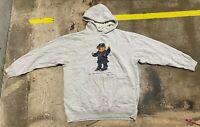 Men's RALPH LAUREN Grey Hoodie Polo Bear Hoodie Sweater Sleeve Size Large L