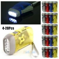 20PCS 3 LED Hand Pressing Crank Power Dynamo Wind Up Flashlight Torch Night Lamp