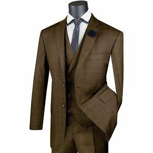 VINCI Men's Taupe Brown Glen Plaid 3 Piece 2 Button Classic Fit Suit NEW