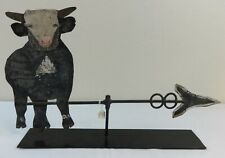 Antique Folk Art Tin Cow on Arrow Weathervane Original Paint
