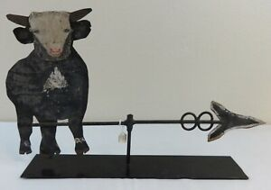 Antique Folk Art Tin Cow on Arrow Weathervane Original Paint