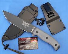 ESEE 6 Knife Tactical Gray Plain Edge Grey Micarta w/Black Sheath / Clip Plate