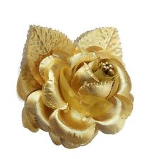 12 Silk Roses Wedding Favor Flower Corsage Pick - Gold