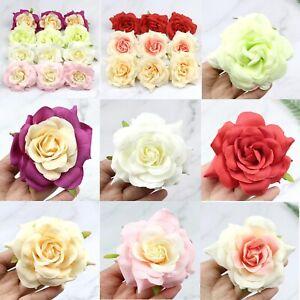 "3.5""Fake Rose 2/5Pcs Bulk Large Artificial Silk Flower Heads Wedding Home Decor"