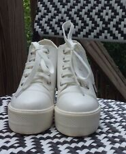 ASH WOMEN'S WHITE PLATFORM WEDGE SNEAKERS SIZE 5 1/2