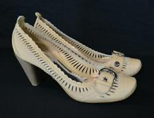 BRONX So Today Landra Tan Leather Cut Out Heels Pumps Shoes Eur 40 US 9 NWB