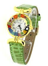 Orologio Donna Dorato Pelle Verde watch in Vetro di Murano Murrina Millefiori