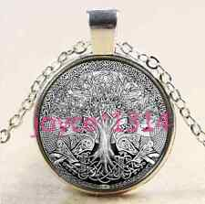 Celtic Tree of Life Cabochon Tibetan silver Glass Chain Pendant Necklace #1940