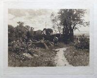 Radierung Wilhelm Feldmann 1859-1932 Norddeutsche Landschaft 33 x 41 cm Weimar