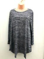 Ex EVANS Plus Size Grey/Navy Blue Long Tunic Top With Stretch Sizes 14-32 *NEW*
