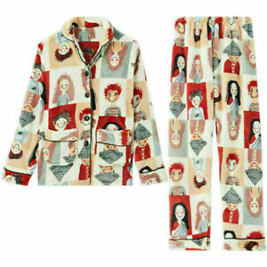 Women Winter Set Floral Home Cute Cartoon Thick Warm Long Sleeve Fleece Pajamas