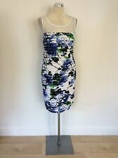 BRAND NEW CONNECTED APPAREL BLUE, WHITE & GREEN FLORAL PRINT DRESS SIZE 12