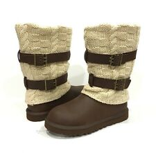 UGG CASSIDEE TALL BOOTS 1007691 BROWN LEATHER KNIT US SIZE 7 -NEW