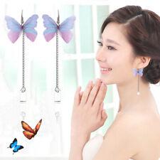 Women Pearls Butterfly Hook Drop Long Tassel Dangle Stud Earrings Jewelry Gift