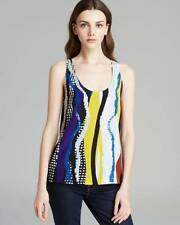 Diane von Furstenberg Glass Patch Jackie Sequin Silk S/L Top $325 NWT S