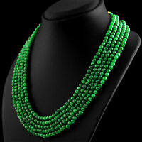 460.75 CTS EARTH MINED RICH GREEN EMERALD 5 STRAND ROUND SHAPE BEADS NECKLACE