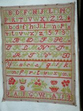 Antique Sampler Jeanie Gow May 1836 Very Nice 9 x 12 Great Colors