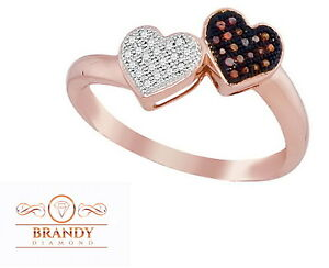 Brandy Diamond® Chocolate Brown 10K Rose Gold Lovely My Heart Your Heart Ring