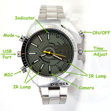 8GB 1920*1080P HD Waterproof Spy Watch Camera IR Night Vision Hidden Cam Video