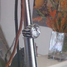 MSRP $38 NWT LOVELY CACHE BLACK / WHITE ZEBRA ENAMEL LARGE RHINESTONE S/7 RING