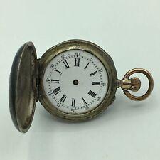 Antique Remontoir Cylindre 10 Rubis 800 Silver Hunter Ladies Pocket Watch 4/0s
