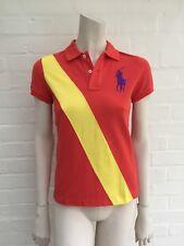 Ralph Lauren Femme Blue Label Big Pony Bannière-Stripe Polo Shirt homme taille XS