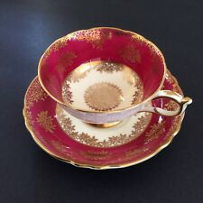 Vtg Paragon Cup and Saucer Fine Bone China England Gold Accents Scalloped Edge