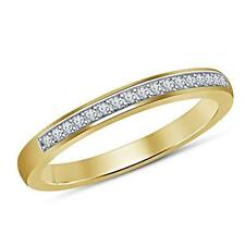 Wedding Band Anniversary Ring For Womens 14K Yellow Gold Over 925 Silver Diamond