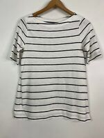 Ann Taylor Loft White And Black Striped Short Sleeve Blouse Shirt Women's Small