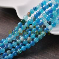 50pcs 6mm Round Natural Stone Loose Gemstone Beads Lake Blue S Agate