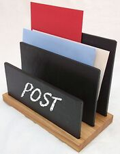 Solid Oak and Natural Slate Customizable Letter Rack - High Quality, Modern, Con