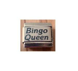 9mm Classic Size ITALIAN CHARMS  L99 Bingo Queen Fits Classic Size Bracelet