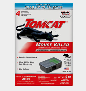 New! Tomcat MOUSE KILLER Small Disposable 4 Bait Station For Mice Indoor 0371610