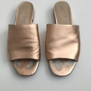 Basque Rose Gold Leather Slides Size 37 'Jive' Sandals
