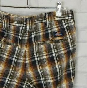 VINTAGE RETRO 80s 90s DICKIES PLAID CHECK BOLD BRIGHT FESTIVAL TROUSERS PANTS