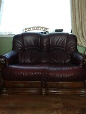 3 piece set 2 two seater sofas and chair burgundy leather