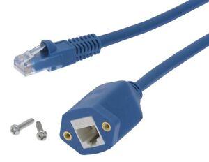 Cat6 RJ45 M/F Ethernet Network Screw Panel Mount Blue Extension Cable