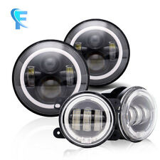 7''Jeep Daymaker LED Headlights With DRL/Amber Turn Signal + 4 ''LED Fog Light