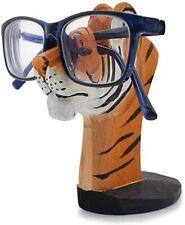 Handmade Wood Carving Eyeglasses Spectacle Holder Stand Rack (Tiger)