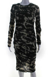 Artelier Nicole Miller Womens Long Sleeve Ruched Tie Dye Print Dress Black M
