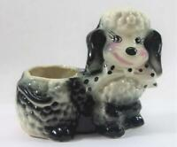 Vintage Ceramic Black & White French Poodle Dog Planter Figurine