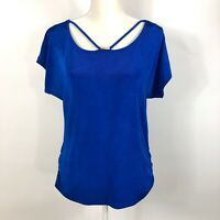 Travelers By Chicos Womens Blouse Blue Stretch Short Sleeves Ruched 1 M/8