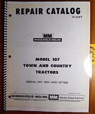 Minneapolis Moline 107 Town Amp Country Tractor 1601 Repair Parts Catalog Manual