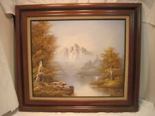 OLD VINTAGE OIL PAINTING SIGNED S. HILL 32 X 28 MOUNTAIN RIVER FOREST WOOD FRAME