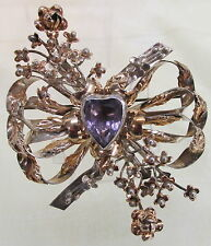 Vintage Hobe Gold Wash Sterling Large Flower Bow Heart Purple Stone Pin Brooch