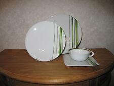 GUY DEGRENNE *NEW* SD One Rayures Végétal Set 2 Assiettes + Tasse à thé