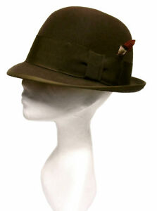 VINTAGE ROYAL STETSON Brown Wool Felt Feather Fedora Bowler Derby Hat 7 1/4 Vtg