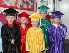 10 xChildren's Graduation Gown&Hat SET for 3-6 year olds-Satin finish10 colours+