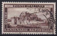 ITL004) Italy 1949, 100th Anniversary of the Roman Republic, brown L.100, cancel